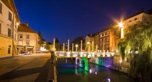 Shoemakers' bridge in Ljubljana Royalty Free Stock Images