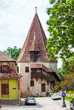 Shoemakers tower (Turnul Cizmarilor) part of  Sighisoara fortres Royalty Free Stock Photography