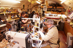 Shoemakers working in a workshop, general view Stock Photography