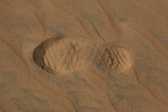 Shoeprint沙子 库存照片