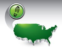 Shoeprint over united states icon Stock Photos