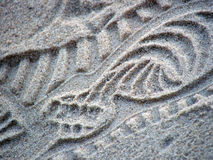 Shoeprint in sand. Close up stock photography
