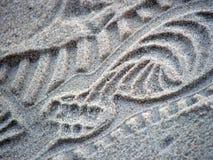 Shoeprint in zand Stock Fotografie