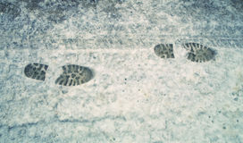 Shoeprints dans la neige Photo libre de droits