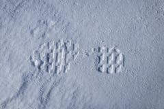 Shoeprints frais dans la neige Image stock