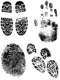 ShoePrints and Handprints. ShoePrints Handprints and Fingerprints - Grouped and on separate layers Royalty Free Stock Image
