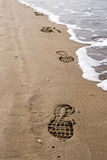 Shoeprints in the sand Royalty Free Stock Image