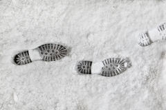 Shoeprints in the snow Stock Image