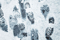 Shoeprints in snow Stock Image