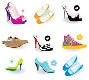 Shoes. Various shoes for women background Stock Photo
