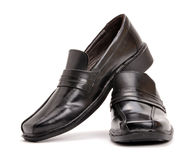 Shoes. Black men shoes in isolated background Royalty Free Stock Images