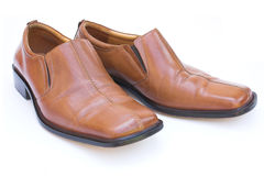 Shoes. Brown leather shoes - white background Royalty Free Stock Image