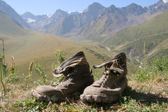 Shoes. Alpin shoes in mountain Kirgiz Royalty Free Stock Photos