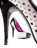 Shoes. Two patent-leather shoes with a white background. Women's Accessories Royalty Free Stock Images