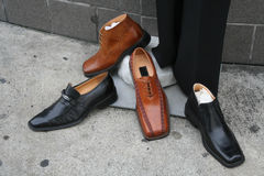 Shoes. Mens dress shoes on display for sale Royalty Free Stock Images