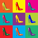 Shoes. An illustraion of bright, high-heel shoes on colourful tiled background. Pop-art style. Seamless. Also available as a vector in my portfolio Stock Photo