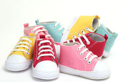 Shoes. Colored sneakers for a boy or a girl royalty free stock photo