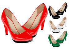 Shoes. The  image of female shoes of various colours Royalty Free Stock Photo