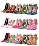 Shoes. Isolated illustration of a lot of shoes Royalty Free Stock Photo