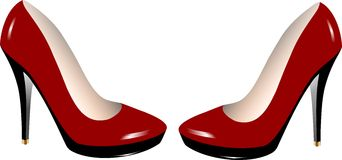 Shoes. A pair of shiny red shoes Stock Photo