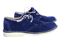 Shoes. Blue suede shoes for men, isolated Royalty Free Stock Photography