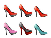 Shoes. Set of woman shoes on a white background Royalty Free Stock Images