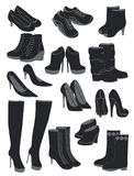 Shoes. A set of silhouettes of women's shoes, vector illustration Stock Photos