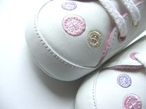Shoes. Baby shoes with buttons embroidered Royalty Free Stock Photography