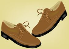 Shoes. Brown shoes on yellow background stock illustration