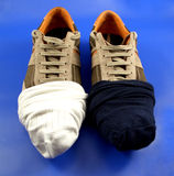 Shoes...(4). Here is a pair of shoes with a pair of socks outside Royalty Free Stock Image