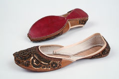 Shoes. A pair of handmade ladies shoes from India Royalty Free Stock Photos