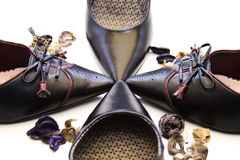 Shoes. Leather shoes in star form stock images