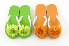 Shoes. Colorful flipflop sandals on the white royalty free stock photography
