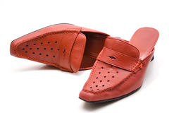 Shoes. Red shoes of leather and open Stock Image