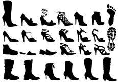 Shoes. Shoe silhouettes set, vector design elements Stock Images