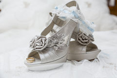 Bridal shoes and accessories. Shoes and accessories are a bride before her wedding Stock Photo