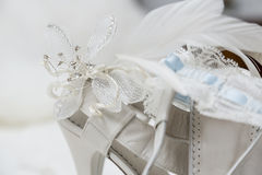 Bridal shoes and accessories. Shoes and accessories are a bride before her wedding royalty free stock photography