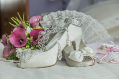 Bridal shoes and accessories Royalty Free Stock Photos