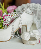 Bridal shoes and accessories. Shoes and accessories are a bride before her wedding royalty free stock images
