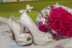 Bridal shoes and accessories Royalty Free Stock Photography