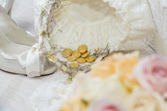 Bridal shoes and accessories. Shoes and accessories are a bride before her wedding stock photography