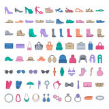 Shoes and accessories colored icons. Line icons shoes, bags, hats, jewelry, glasses Stock Image