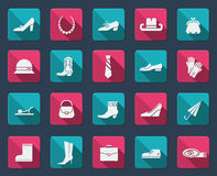 Shoes and accessories icons Stock Image