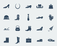 Shoes and accessories icons isolated on white Royalty Free Stock Photo