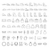 Shoes and accessories line icons. Icons set: shoes, bags, hats, jewelry, glasses royalty free illustration
