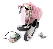 Shoes, accessories and a shopping bag Stock Images