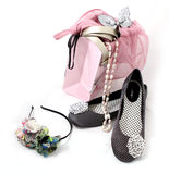 Shoes, accessories and a shopping bag Stock Photo