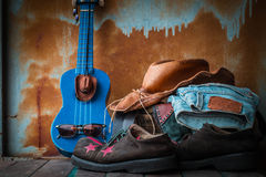 Shoes and accessories on wooden Stock Image