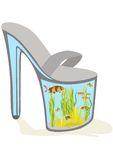 Shoes with aquarium fish Royalty Free Stock Photography