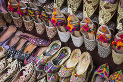 Shoes in arabian style, market of Dubai Stock Images